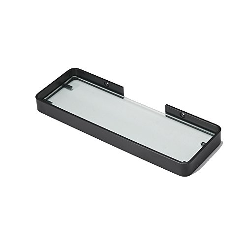 NYDZDM Zwarte badkamerrek met één laag, aan de muur gemonteerde cosmeticarek van gehard glas, Space aluminium geen boorstandaard