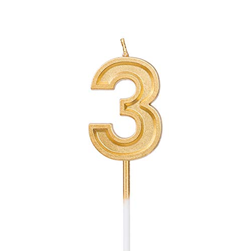 LUTER Gold Glitter Happy Birthday Cake Candles Number Candles Number 3 Birthday Candle Cake Topper Decoration for Party Kids Adults