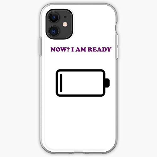Majamoo Battery Ready Design Am Now I Funny Low Be New El   Funda para teléfono para iPhone 11, iPhone 11 Pro, iPhone XR, iPhone 7/8 / SE 2020 - TPU a Prueba de Golpes Protectora Interior