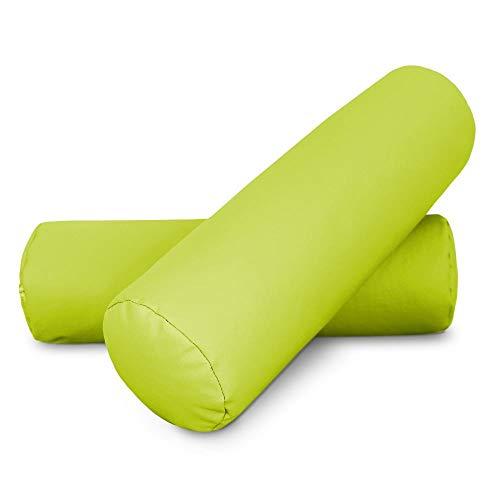 HAPPERS 2 Cojines cilíndrico de 50x15 en Polipiel Verde. Almohada rulo cojín aliviar Dolor postural o Dormir