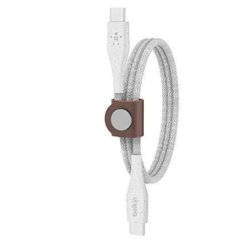 Belkin Boost Charge USB-C/USB-C-Kabel mit Band - doppelt geflochtenes, Robustes USB-C-Kabel für Geräte wie MacBook, iPad Pro, Samsung Galaxy, Pixel 3 (1,2 m, Weiß), F8J241bt04-WHT