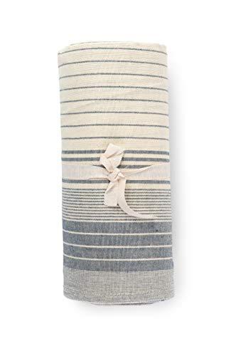 HomeLife - Funda para sofá a rayas fabricada en Italia | Sábana cubretodo multiusos de algodón | Granfoulard Colcha para cama de matrimonio [260 x 280] Tela decorativa azul 2 plazas