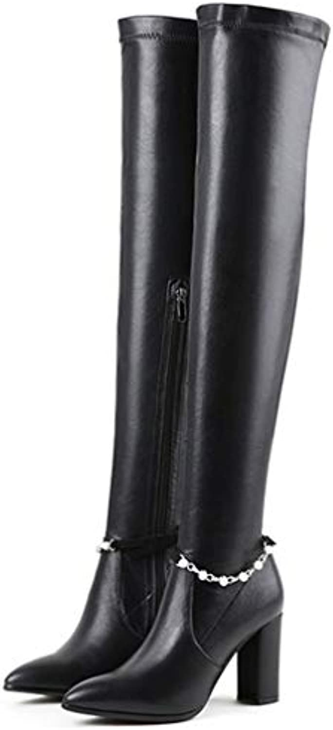 T-JULY Fashion Women Autumn Winter Warm Genuine Leather High Heels Over The Knee Boots Ladies Sexy Party Dancing Boots