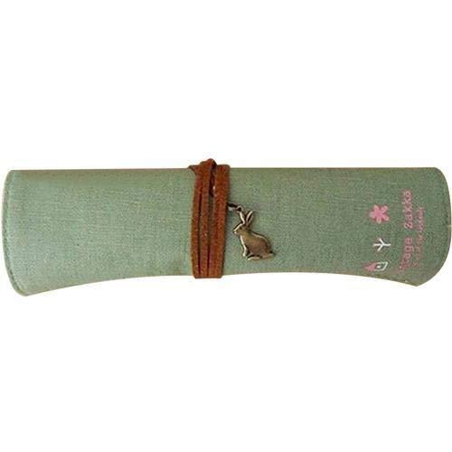 Bolsa de lona enrollable para bolígrafos, brochas de maquillaje, estuche multifuncional para lápices, caja de regalo (color verde)