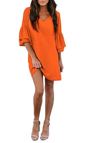 BELONGSCI Women's Dress Sweet & Cute V-Neck Bell Sleeve Shift Dress Mini Dress Orange