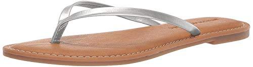 Amazon Essentials Women's Thong Sandal, Silver, 9 B US