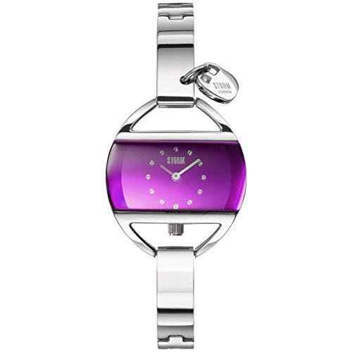 Reloj de pulsera para mujer de Temptres-Charm-Lazer-Purple-47013/P, resistente al agua, 3 bar, colgante de colgante, caja de acero inoxidable, cristal mineral de alta calidad