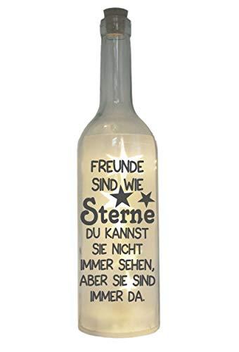 WB wohn trends LED-Flasche mit Motiv, Freunde sind wie Sterne, grau, 29cm, Flaschen-Licht Lampe mit Text Spruch