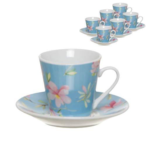 Vidal Regalos Juego Café Taza Pequeña 90ML x6 Flores Cerezo Azul Elegante