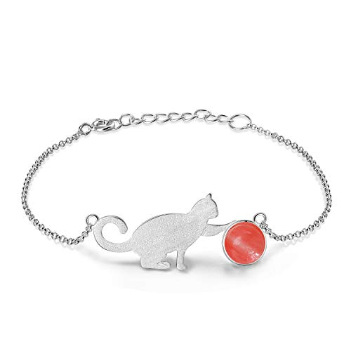Lotus Fun S925 Sterling Silver Bracelet Cat Playing Balls Adjustable Bracelets with Chain Length 6.5''-7.6'', Handmade Unique Jewelry Gifts for Women and Teen Girl (A. Red)