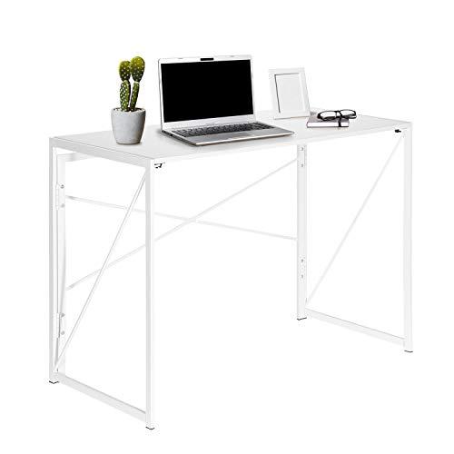 hjh OFFICE 634745 Schreibtisch klappbar Easy UP Multi 100 x 50 cm Holz Weiß Computer Klapptisch mit Metallgestell