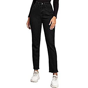 Women's High Waist Raw Hem Button Jeans Casual Straight Leg Denim Pants
