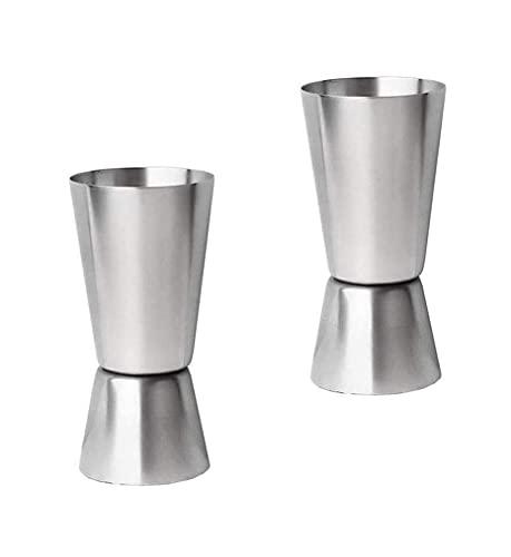 Bicchiere dosatore per bevande, 2 pezzi, in acciaio inox, per cocktail e cocktail