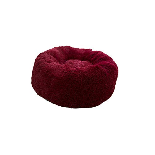 LIYONG Dresses Pet Dogs Beds | Super Soft Pet Bed Winter Warm Sleeping Bed For Dogs Kennel Dog Round Cat Long Plush Puppy Cushion Mat Portable Cat Supplies-Dark Red-80Cm HLSJ