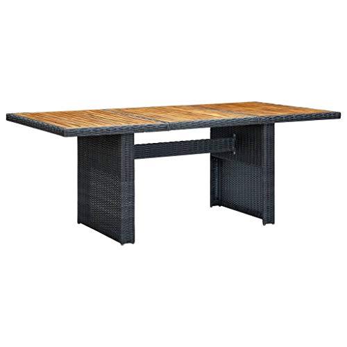 vidaXL Solid Acacia Wood Garden Table Outdoor Furniture Lightweight Wooden Patio Dining Side Coffee Tea Dinner Table Bistro Desk Dark Grey Poly Rattan