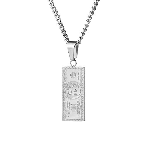 US-Dollar-Scheine Anhänger Halskette, Hip Hop Hipster Punk Street Student Anhänger Halskette Männer und Frauen Paar Geschenk Schmuck-Silver