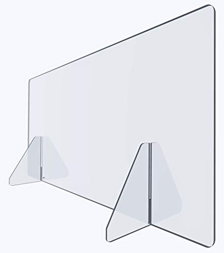Acrylic Plexiglass Sneeze Guard Shield - Thick, Sturdy Clear Guard - Many Size Options 60', 48', 32', 24', 16', 12' for Complete Personalized Counter and Desk Divider Enclosure Set (60' Closed)