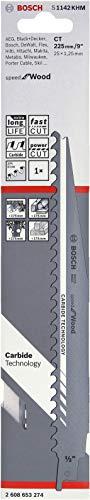 Bosch Professional Säbelsägeblatt S 1142 KHM Speed for Wood (für Holz, 225 x 25 x 1,25 mm, Zubehör Säbelsäge)