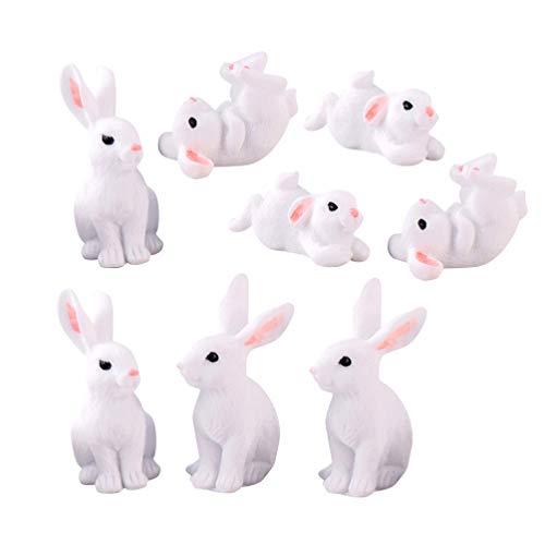 Kisangel 8 Piezas de Pascua Conejito Miniatura Conejo Figuras de Hadas Jardín Ornamentos Micro Paisaje Decoración Casa de Muñecas Suministros (Color Assored)