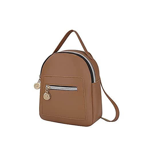 NAQUSHA Mochila para mujer Fashion Daily con cremallera convertible Maiden Bag marrón Talla única