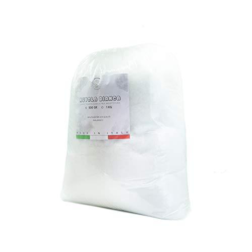NuvolaNera Ovatta bianca per imbottitura fioccata, Ovatta per riempimento peluche, cuscini 100% Poliestere MADE IN ITALY – Sacco da 500 Gr