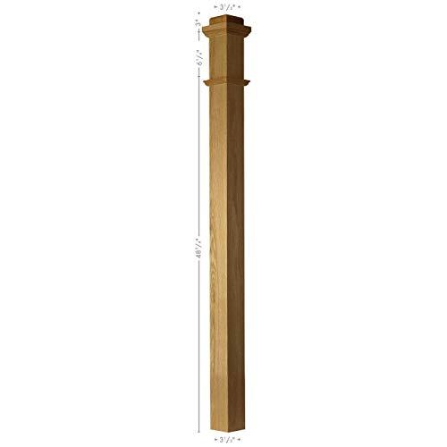 SP-4075S Solid Poplar Plain Box Newel Post