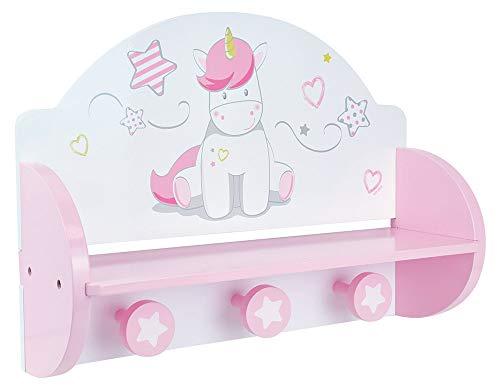 Fun House 713046 - Scaffale a forma di unicorno, colore: bianco, rosa, dimensioni: 33 x 45 x 14 cm