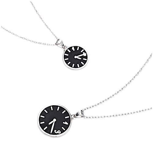 Collar de Inspiración Pareja Reloj Collar un par de plata de ley 925 hombres y de regalos de San Valentín (caja de regalo) collar de las mujeres clavícula Cadena Exquisita Decoración para Mujeres y Ni