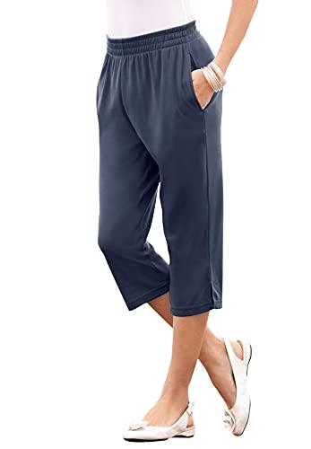 Roamans Women's Plus Size Soft Knit Capri Pant Pull On Elastic Waist - 3X, Navy
