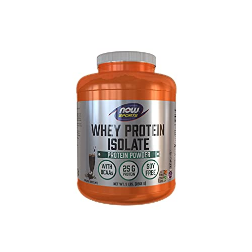 NOW Sports Nutrition, Whey Protein Isolate, 25 g With BCAAs, Creamy Chocolate Powder, Brown, 5-Pound