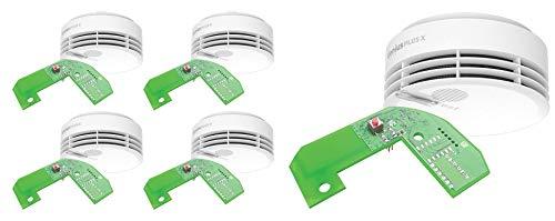 5er Set Hekatron Rauchmelder Genius PLUS X – Funkvernetzbare Feuermelder – 10 Jahre Lebensdauer der Batterie, LED mehrfarbig & App-unterstützt – Weiß, inkl. 5 x Funkmodul Basis X