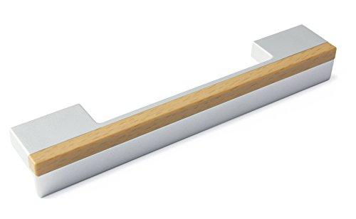 LGM-Beschlag Möbelgriff Graben-Neudorf, Modern, Kunststoff metallisiert - weißaluminium, Kunststoff Holzeffekt - buche, 148 mm x 24 mm x 18 mm, LA 96 und 128 mm, 49244