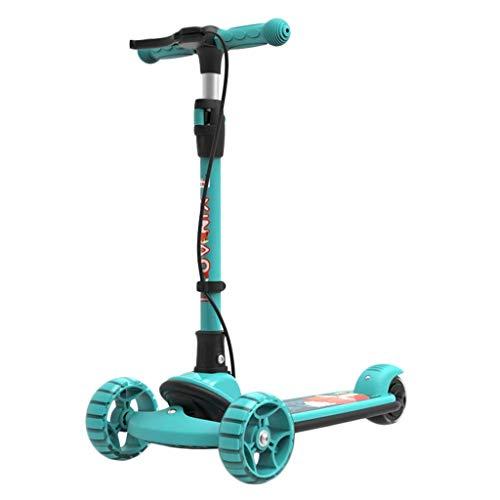 Scooter 3-Rad for Kinder, mit Handbremse Doppelbremse Stoßdämpfung höhenverstellbar Faltbarer Leichtgewicht mit Flashing PU Flash-Rad Alten 2-12 (Color : Blue)