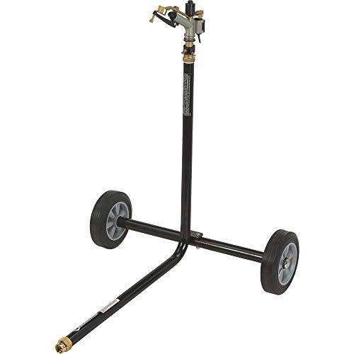 Strongway Wheeled Sprinkler - 1in. Sprinkler Head with 3 Nozzles, 8in. Rubber Tires