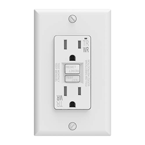 ELEGRP 15 Amp GFCI Outlet, 5-15R GFI Dual Receptacle, TR Tamper Resistant and WR Weather Resistant, Self-Test Ground Fault Circuit Interrupters with Wall Plate, UL Listed (1 Pack, White)