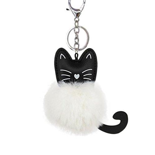 Hacoly simpatico gatto portachiavi morbido pom pom anello portachiavi peluche pelliccia soffice borsa auto ornamenti ciondolo per le donne uomini souvenir regalo di compleanno
