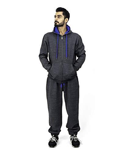 Noroze - Tuta da ginnastica da uomo in pile composta da felpa con cappuccio e pantaloni, con coulisse a contrasto Carbone/blu. S