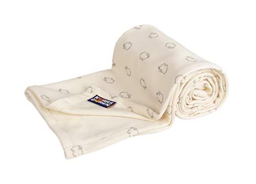 Kaarsgaren Baby und Kinder Bio-Baumwoll-Decke für den Sommer, Kuscheldecke für Jungen und Mädchen, Kinderwagendecke, Babydecke, Erstlingsdecke, Sommerdecke (Natur Lämmer, 70 x 100 cm)