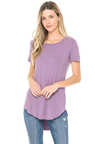BIVE Women's Casual Short Sleeve Open Crew Neck T-Shirt Tunic Tops Dusty Lavender S
