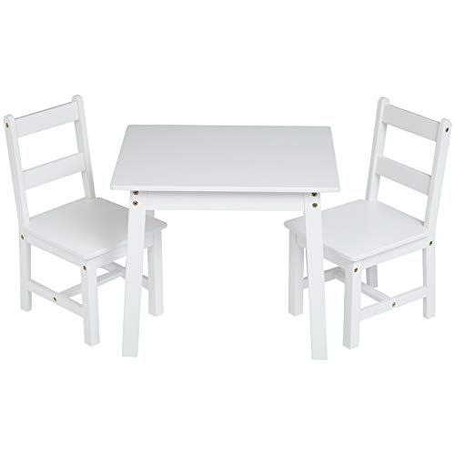 Amazon Basics Kids Solid Wood Table and 2 Chair Set White