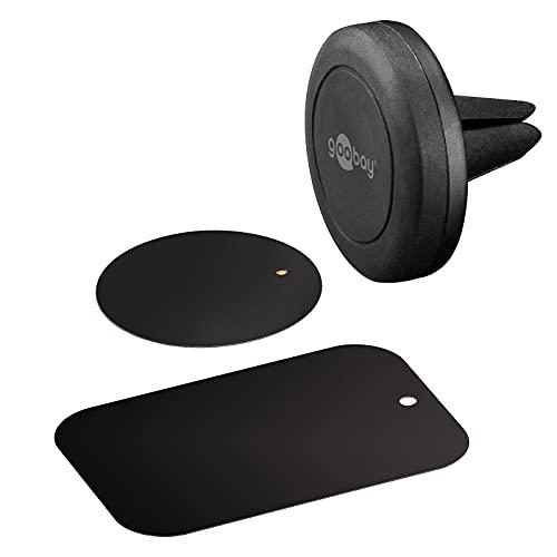 Goobay 47145 Magnethalterungs-Set / Handyhalterung für Auto Lüftung / Universal / Slim Design für Smartphone Autohalterung Schwarz