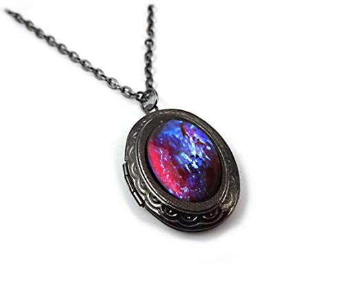 Little Gem Girl Synthetic Mexican Opal Necklace Dragons Breath Fire Czech Glass Amulet Color Changing Gunmetal Locket 18 inch Chain