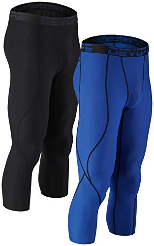DEVOPS Men's 3/4 (2 Pack) Compression Cool Dry Tights Baselayer Running Active Leggings Pants (Small, Black/Blue)