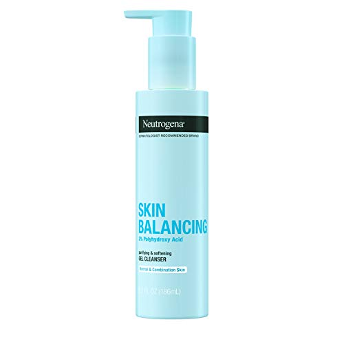Neutrogena Skin Balancing Purifying Gel Cleanser with 2% Polyhydroxy Acid (PHA), Softening Face Wash for Normal & Combo Skin, Paraben-Free, Soap-Free, Sulfate-Free, 6.3 oz