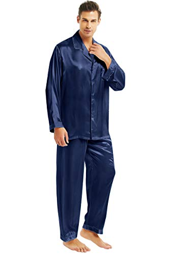 Herren Seide Schlafanzug Pyjama Blau X-Large
