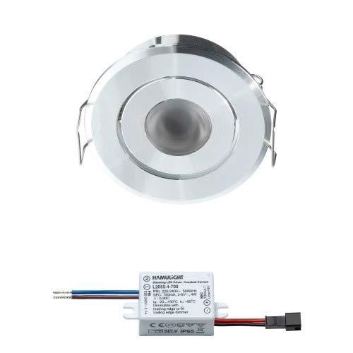 LED Einbaustrahler Bridgelux | Einbauleuchten/Deckenstrahler/Einbauspots/Einbaulampen/Downlight/Deckenspots/Deckeneinbauleuchten | 3W / Dimmbar/Schwenkbar/Flach / 230V / IP44 / Warmweiß