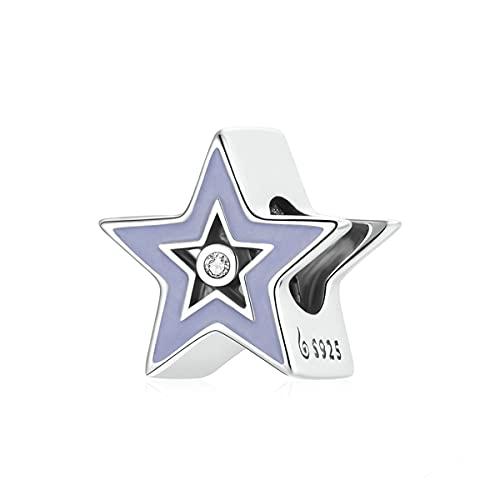 WMYDYBD Dije de Plata de Ley 925 con Cuentas de Estrella Brillante, Colgante de Esmalte púrpura Apto para Pulsera Original, Collar, joyería DIY