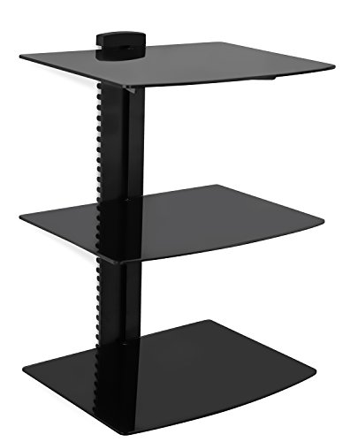 Mount-It! Wall Mounted Floating Shelf Bracket Stand for AV Receiver, Component, Cable Box, Playstation4, Xbox1, VCR Player, Blue Ray DVD Player, Projector, Three Shelves, Tempered Glass (MI-813)