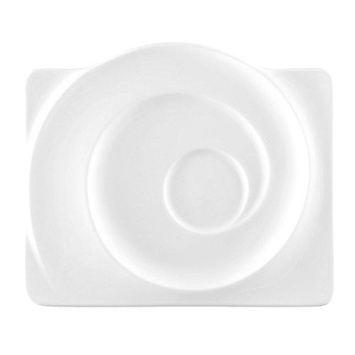 Seltmann 001.015928 Paso Porzellan Untertasse, Eckig, Weiß, 19,7cm Durchmesser, 2,3cm Höhe, 6 Stück