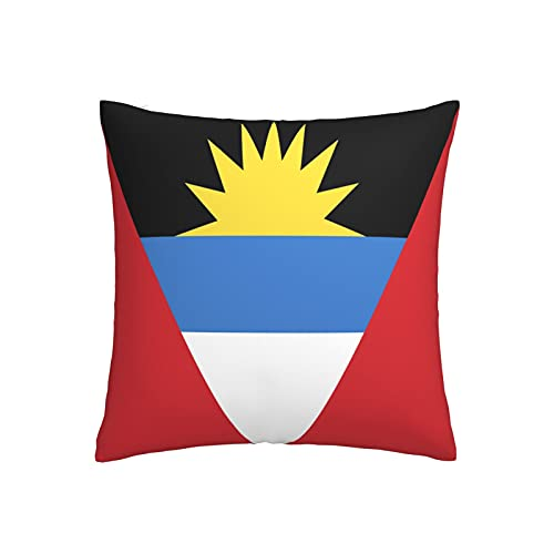 Kissenbezug mit Flagge von Antigua & Barbuda, quadratisch, dekorativer Kissenbezug für Sofa, Couch, Zuhause, Schlafzimmer, Indoor Outdoor, niedlicher Kissenbezug 45,7 x 45,7 cm